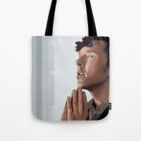 sherlock holmes Tote Bags featuring sherlock holmes by elyinspira