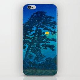 Vintage Japanese Woodblock Print Kawase Hasui Haunting Tree Silhouette At Night Moonlight iPhone Skin