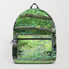 Rustic Bench in the Woods Backpack