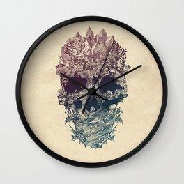 Skull Floral Wall Clock