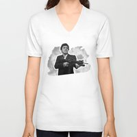 scarface V-neck T-shirts featuring Badass 80's Action Movie Quotes - Scarface by Casa del Kables