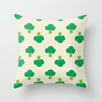 vegetable Throw Pillows featuring VEGETABLE-BROCCOLI! by Claudia Ramos Designs