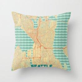 Seattle Map Retro Throw Pillow