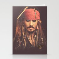 jack sparrow Stationery Cards featuring Jack Sparrow Digital Painting by Visionary Sea