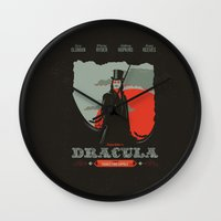 movie poster Wall Clocks featuring Dracula movie poster by Inno Theme