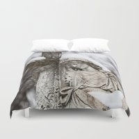 religious Duvet Covers featuring Religious Statue by Legends of Darkness Photography