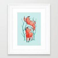 nursery Framed Art Prints featuring Winter Fox by Freeminds