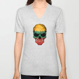 Dark Skull with Flag of Lithuania Unisex V-Neck