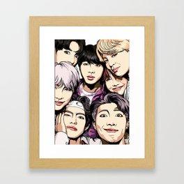 Bts Group photo watercolor art Framed Art Print