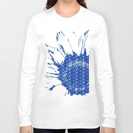 Sparkley Blue Flower Long Sleeve T-shirt