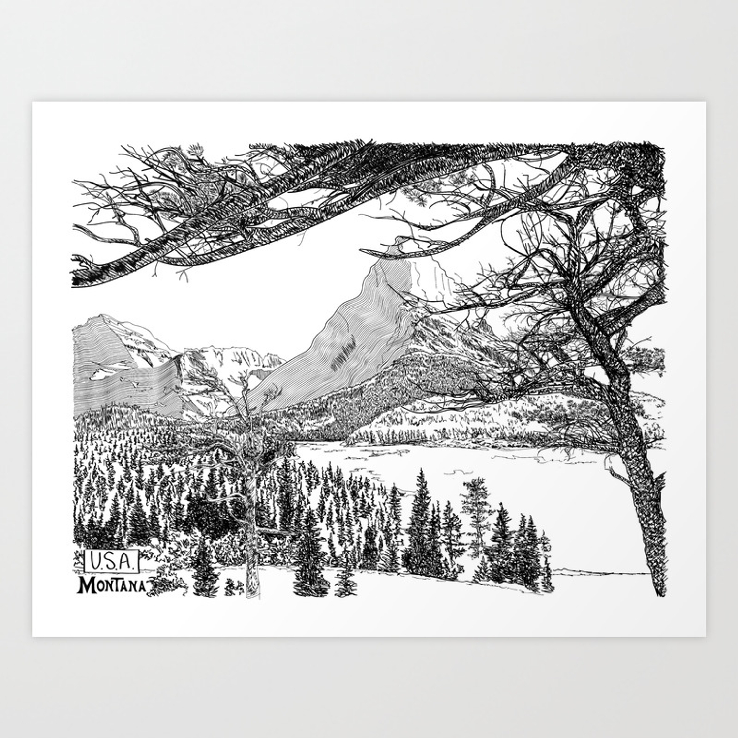Montana landscape black and white drawing art print