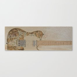 vintage sheet music on electric guitar Canvas Print