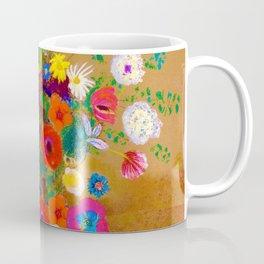 Punk Impressionist Flower Skull Coffee Mug