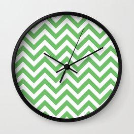 Spring Green Chevrons Pattern Wall Clock