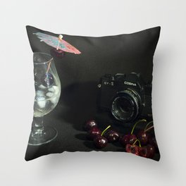 Cosina and Cherry cocktail Throw Pillow