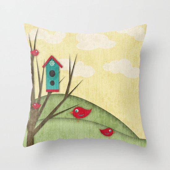 Shabby Sweet Tweet On The Hillside Throw Pillow