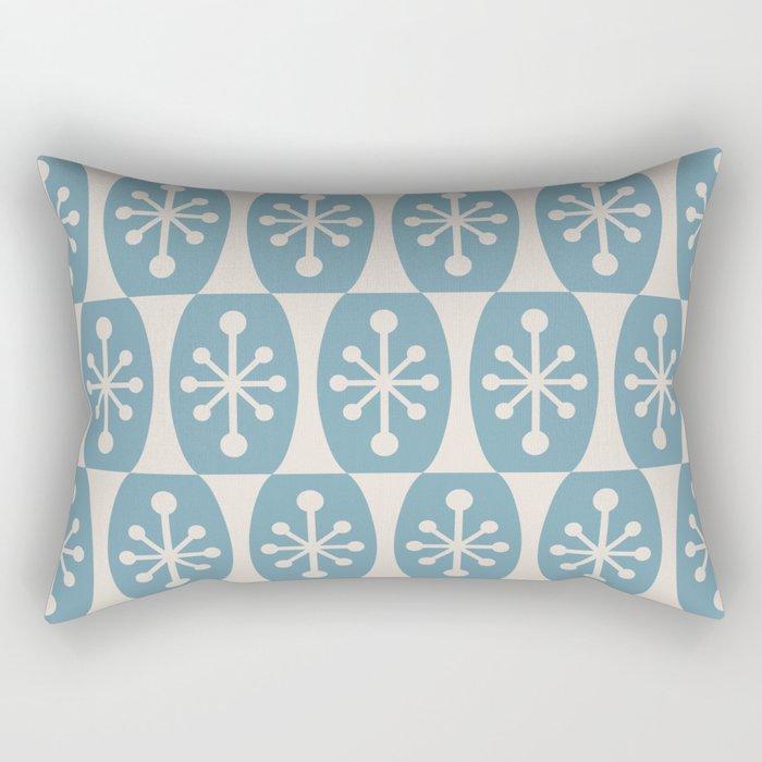 Mid Century Modern Atomic Fusion Pattern 334 Blue and Beige Rectangular Pillow