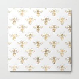 Gold Bee Pattern Metal Print