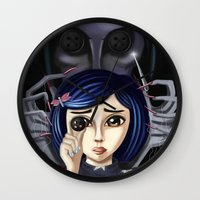 coraline Wall Clocks featuring Coraline and the secret door by Artik