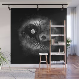Yin Yang Tree Landscape Black and White Wall Mural