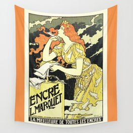 Marquet ink, art nouveau ad by Grasset Wall Tapestry