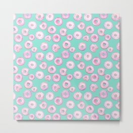 Pink Donuts   Strawberry Watercolor Doughnut Pattern on Teal Metal Print