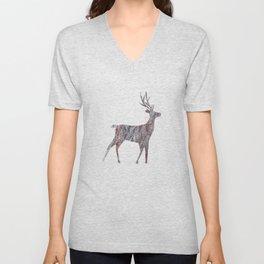 deer silhouette stag pine bark Unisex V-Neck