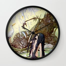 """""""The Marsh King's Daughter"""" Fairy Art by Anne Anderson Wall Clock"""
