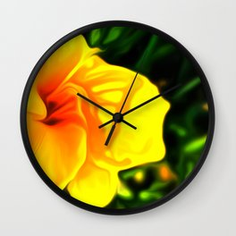 Painted Day Lilly - Yellow Wall Clock
