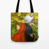 red hood Tote Bags featuring Red Riding Hood by Diogo Verissimo