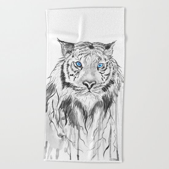 Tiger, black and white Beach Towel