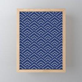 Sashiko Seamless Indigo Dye Pattern With Traditional  Japanese Framed Mini Art Print