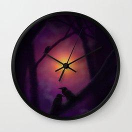 Ravens at Sundown Wall Clock