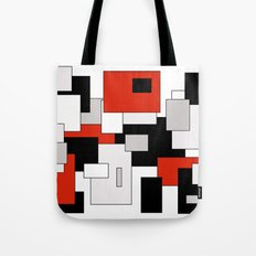 Squares - gray, red, black and white Tote Bag