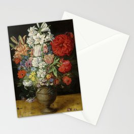 """Osias Beert """"Flowers in a German tigerware vase, with a bluebottle fly and a Red Admiral butterfly"""" Stationery Cards"""