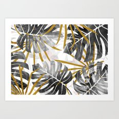 Monstera black and white with golden leaves Art Print