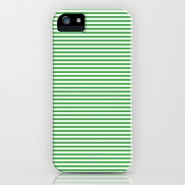 Even Horizontal Stripes, Green and White, XS iPhone Case
