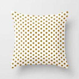 Gold Glitter Polka Dots Throw Pillow