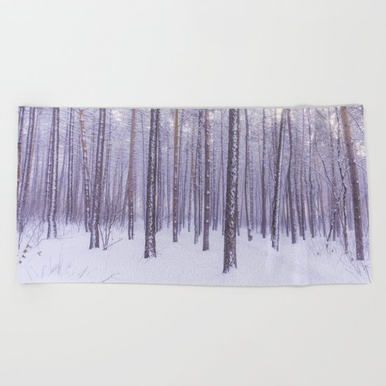 Snow in Trees Beach Towel