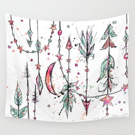 Bohemian Pink and Aqua Wall Tapestry