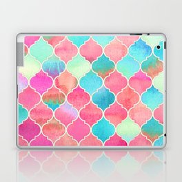 Watercolor Moroccan Patchwork in Magenta, Peach & Aqua Laptop & iPad Skin