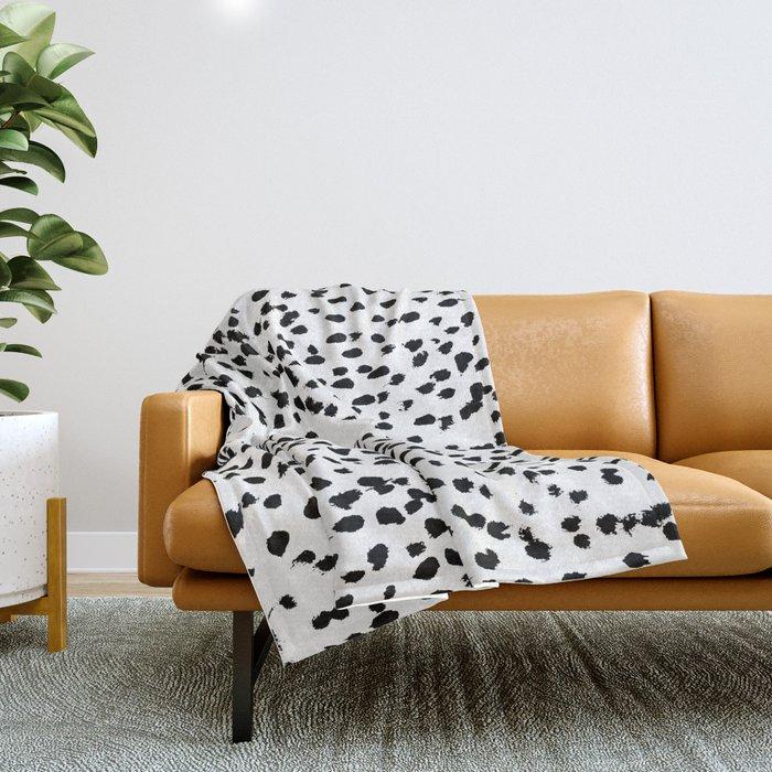 Nadia - Black and White, Animal Print, Dalmatian Spot, Spots, Dots, BW Throw Blanket