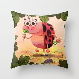 Hungry ladybird Throw Pillow