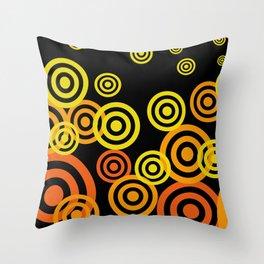 Spirals yellow orange - black Throw Pillow