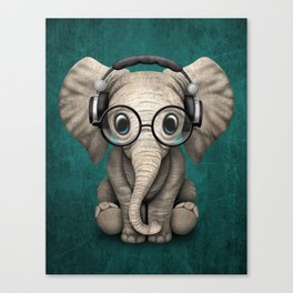 Cute Baby Elephant Dj Wearing Headphones and Glasses on Blue Canvas Print