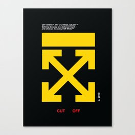 Yellow Arrows Cross Cut Off White Canvas Print