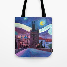 Starry Night in Prague - Van Gogh Inspirations on Charles Bridge Tote Bag