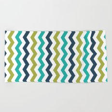Chevron Navy Lime Turquoise Pattern Beach Towel