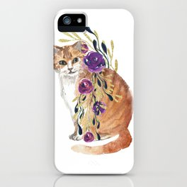 cat with flower boa iPhone Case