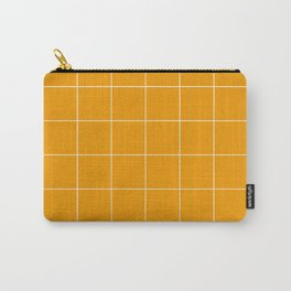 Graph Paper (White & Orange Pattern) Carry-All Pouch
